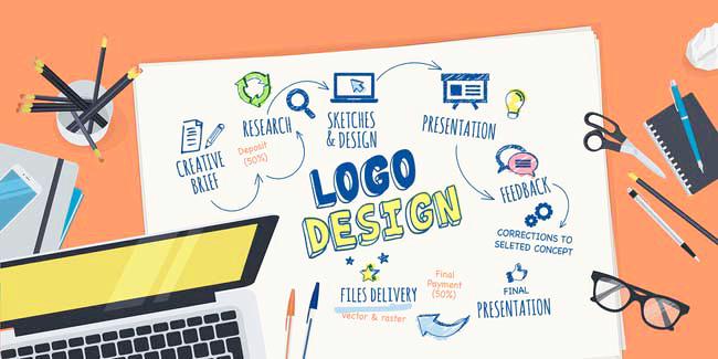 Flat design illustration concept for logo design creative proces